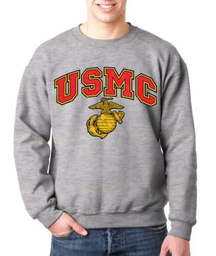 USMC MARINES CREW NECK GRAY Marine Corps Sweatshirt Semper Fi US Marine Logo U.S