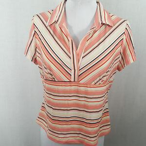 Fiorlini-International-Womens-Pink-Peach-Striped-Short-Sleeve-Shirt-Size-L