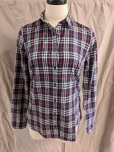 J-CREW-PERFECT-SHIRT-BUTTON-DOWN-NAVY-RED-PLAID-SIZE-00-NEW