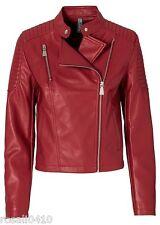 Damen Stylishe Bikerjacke Lederimitat Jacke aus PU Gr 42 dunkelrot NEU