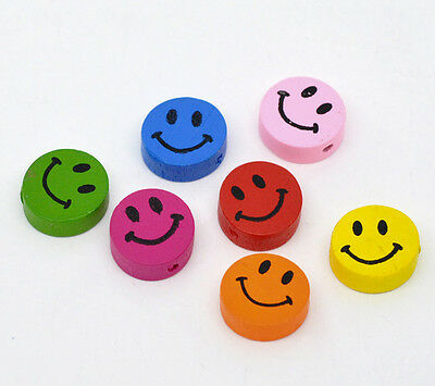 100 New Cute Smiling Wood Beads 16x16mm