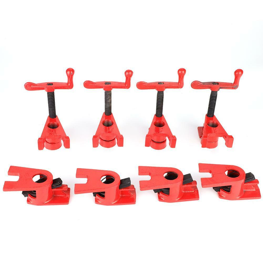 """8Pcs(4 set) 3/4"""" Clamping Blocks Pipe Clamps Woodworking Joint Hand Tool Set Red 3"""
