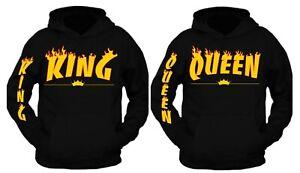 Men Women Hoodies Jumper King and Queen Crown Couples Matching Sweatshirts ~
