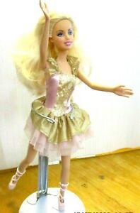 Barbie-Ballet-Girl-Pretty-Blonde-Hair-Pink-Ballet-Dress-amp-Shoes