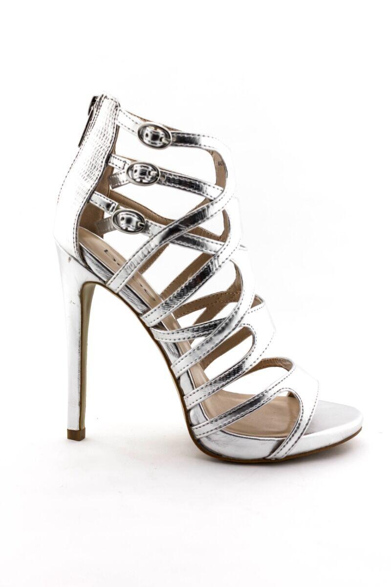 Bebe boots shoes heels Juanita silver caged sandals 232232 8 9