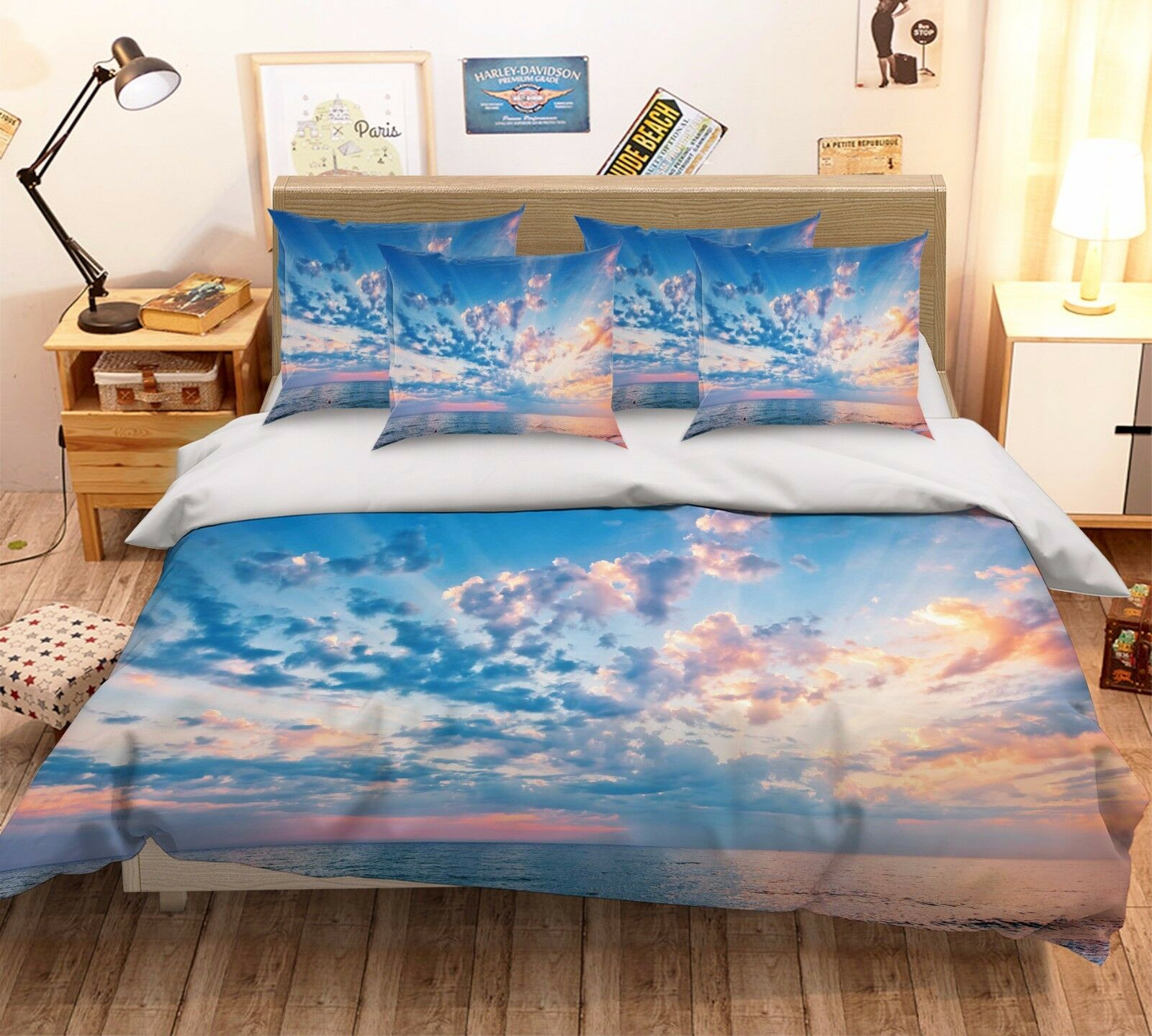 3D Vast Sea 384 Bed Pillowcases Quilt Duvet Cover Set Single Queen King Size AU