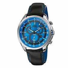 Citizen Men's Eco-Drive AT2180-00L Chronograph Blue Dial Black Strap 44mm Watch