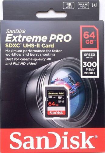 SDXC Tarjeta 64GB-Uhs SanDisk Extreme Pro SD 300MB//s SDSDXPK 064G II