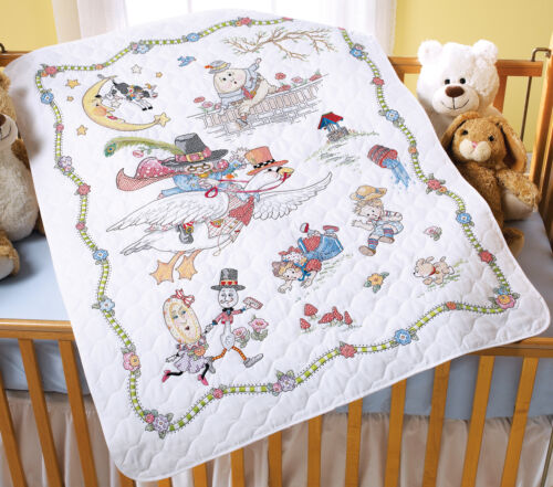 """Mary Engelbreit Mother Goose Crib Cover Stamped Cross Stitch34""""X43"""""""