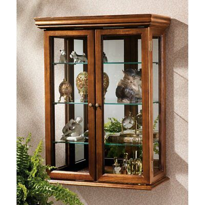 Wall Mounted Curio Cabinet Display Case Glass Doors Hanging Shelf Free Standing