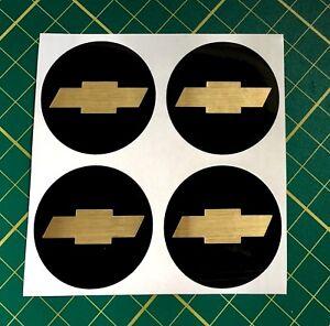 4 X 45 Mm Roue Alliage Autocollant Doré Effet Fit Chevrolet Center Badge Trim Cap-afficher Le Titre D'origine
