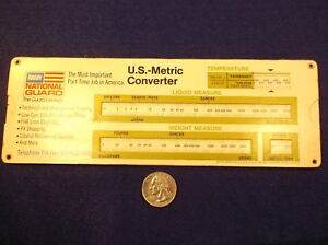 rare vtg 1974 paper slide rule army national guard u s metric