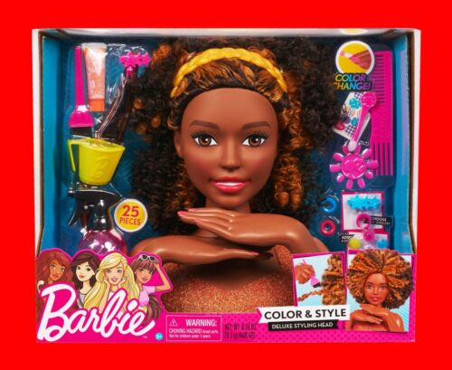 Barbie Color Style African American Deluxe Styling Head Curly Hair 25 Pieces Other Contemp Barbie Dolls Barbie Dolls