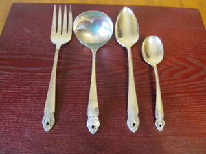 Oneida-Distinction-Set-4-Serving-Pieces-Prestige-Silverplate-Bestecke-Lot-E