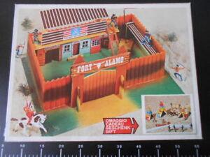 Fortino Fort Alamo Ginpel Ensemble De Jeux Avec Cadeau À L'intérieur Rare Jouet En Bois Legno Boîte Rouge