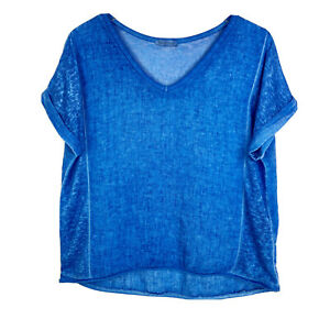 Made-In-Italy-Womens-Top-One-Size-Blue-Linen-Blouse-V-Neck-Short-Sleeve-Shirt