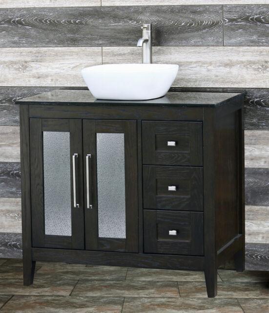 Cabinet Black Granite Top Vessel Sink