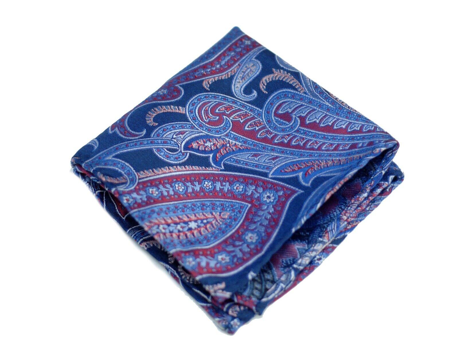 Umberto Algodon Napoli Men's Sapphire Magenta Paisley Woven Pocket Square