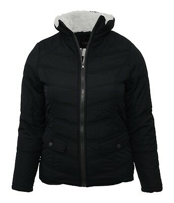 Size 12 14 16 18 Womens Borg Fleece Lined Jacket Padded Ladies Girls Coat M L XL