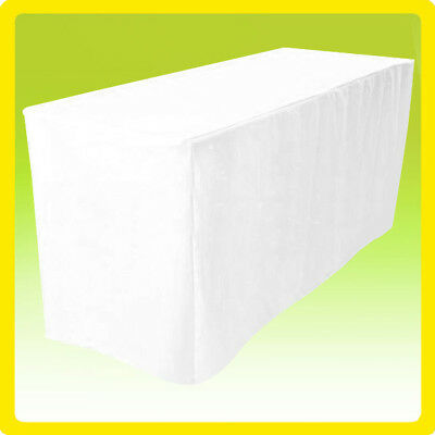 """4' Fitted 24"""" Width Polyester Tablecloth Wedding Banquet Table Cover WHITE"""