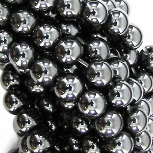 GRADE-A-MAGNETIC-HEMATITE-ROUND-BALL-SHAMBALLA-SPACER-BEADS-6-8-amp-10mm-BD5