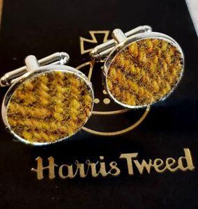 Harris tweed beige and brown Handmade men\u2019s cuff links