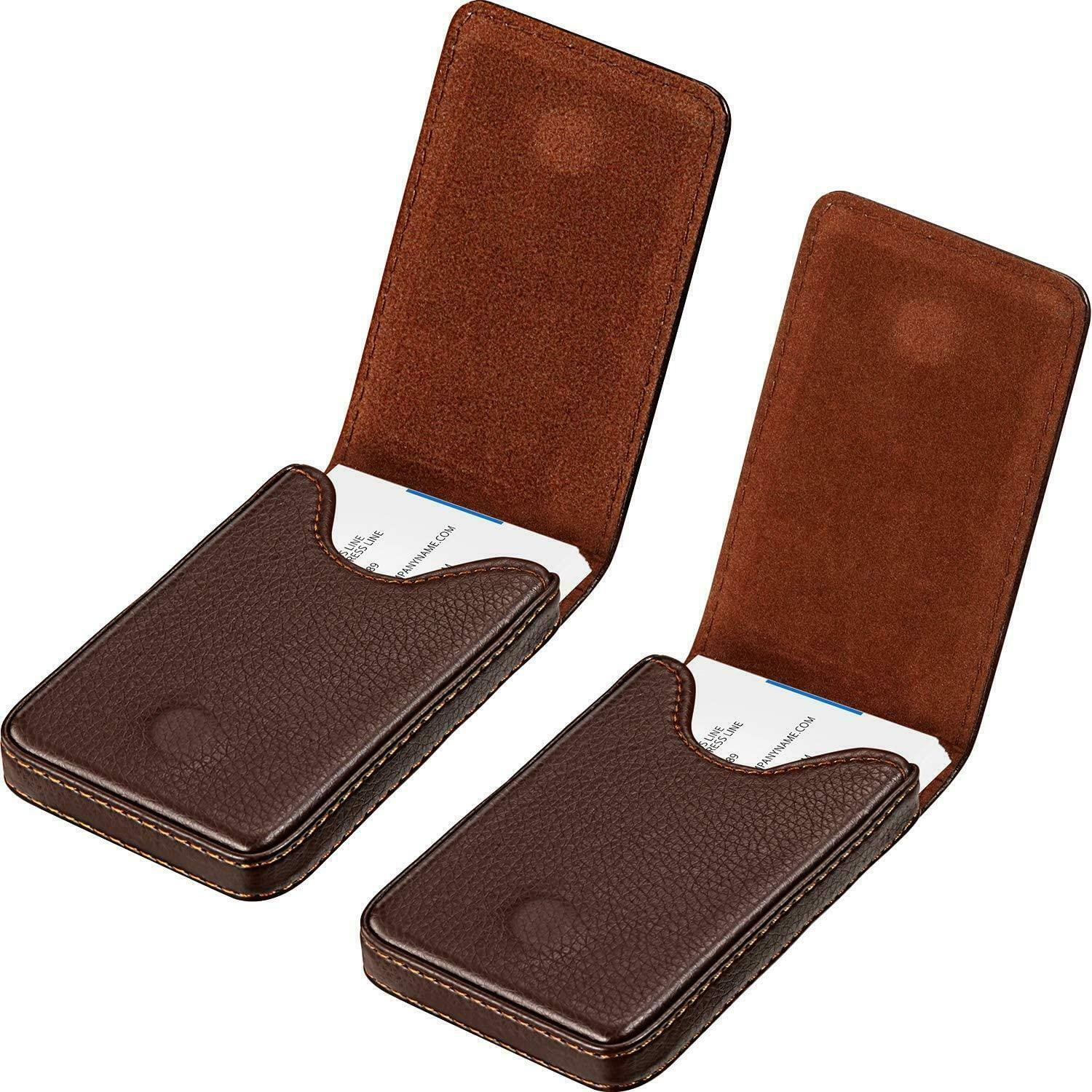 2 Pieces Business Card Holder, Wallet PU Leather Case Pocket Name With Magnetic