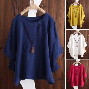 ZANZEA-8-24-Women-Summer-Batwing-Blouse-T-Shirt-Tee-Baggy-Plus-Size-Cotton-Top