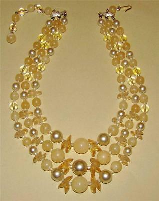 VTG ~ 1950s Triple STRAND Peach & Cream LUCITE Beaded NECKLACE ~ Post WWII Japan