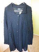 Sara Black Knitted Cardigan - Size Xxl -