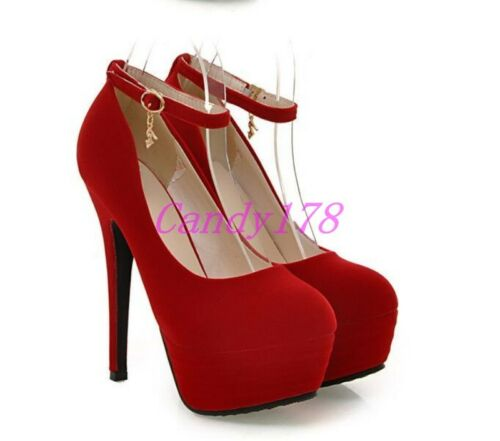 US Womens Round Toe Faux Suede Super Stiletto High heels Dress Ankle Strap Shoes