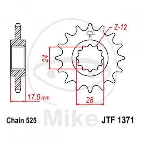 JT Motorrad Ritzel 15 Zähne Teilung 525 JTF1371.15