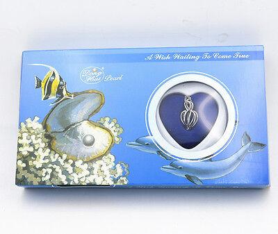 "New Gift Love Wish Pearl Kit Heart Cage 17""chain Necklac Seashells"