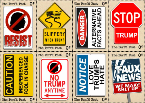 Artistamp, Faux Postage, REPRO Trump RESIST! Road Sign Art Stamps