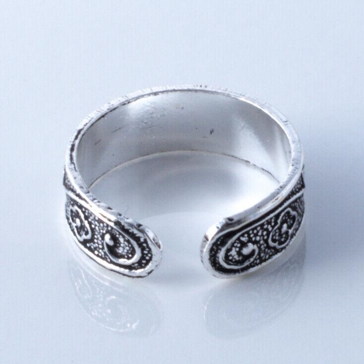 Zeh Ring Echt Silber Zehenring verstellbar Wellenmuster mit 925 Stempel