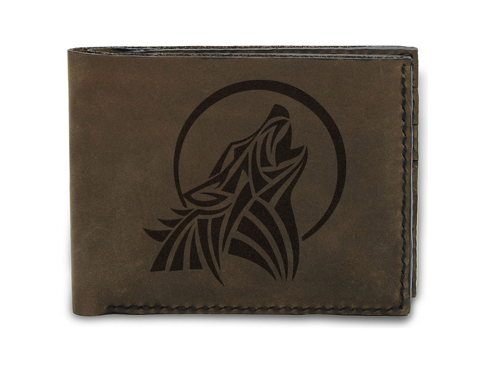 100% Handmade Genuine Leather Trifold Wallet Moon Howling Tribal Wolf MHLT_05