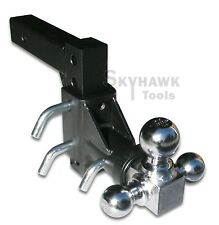 """3-BALL Tri Swivel Adjustable Drop Turn Trailer Tow Hitch Mount for 2"""" Receiver"""