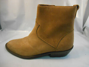 50c1833de6a Details about Urban Trends Brown Leather Side Zip Western Ankle Boots  Women's Size 7.5 M