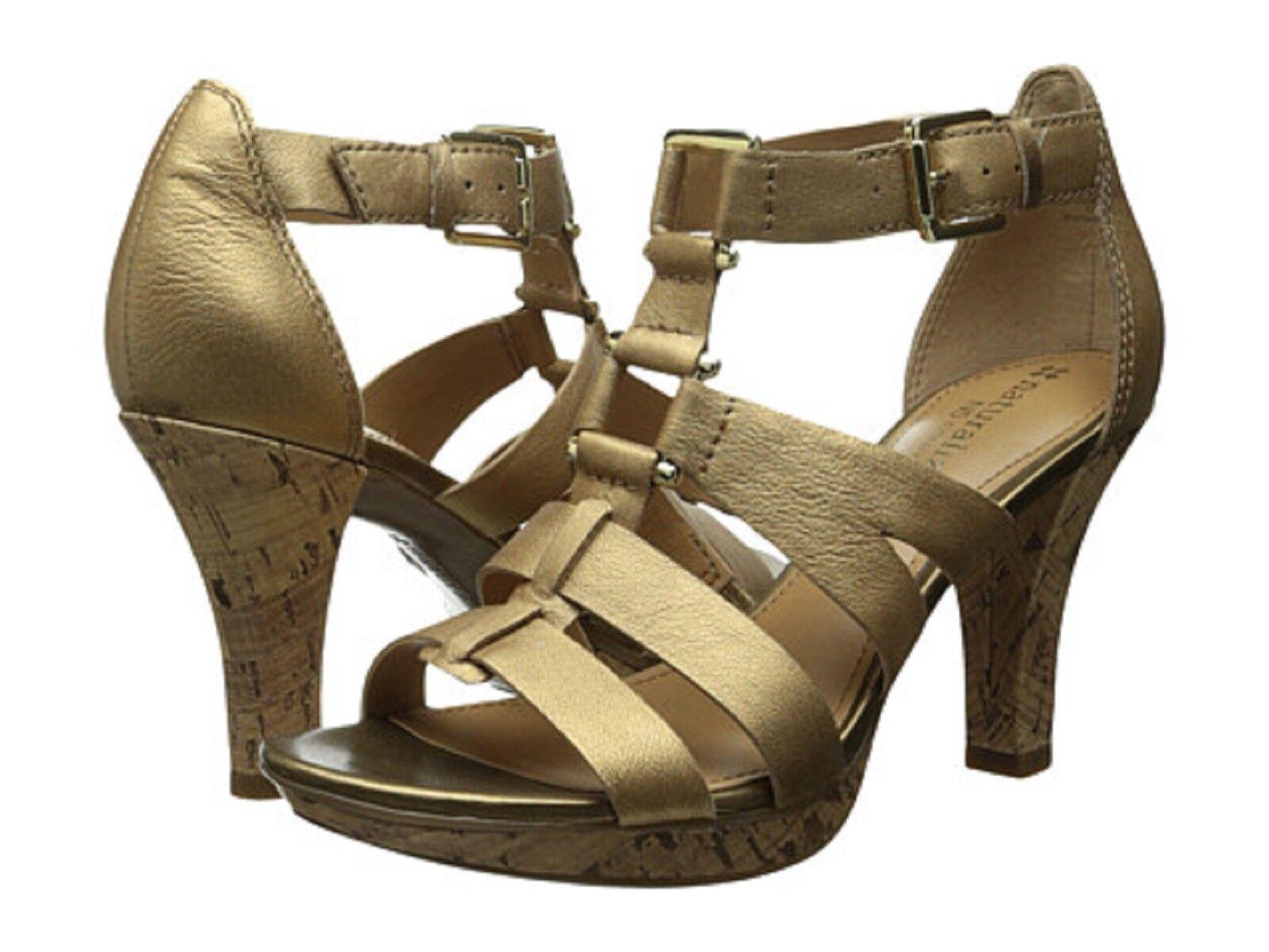 Naturalizer Dafny Tacón Alto Sandalias de cuero cuero cuero señoras de oro especiadas Talla 9.5 M Nuevo en Caja  promociones