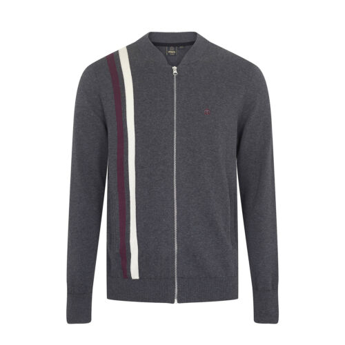 Cardigan Fenby Mens Merc London Retro Mod Zip Up Knitted Top Black /& Grey