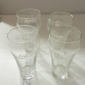 Set-of-4-Vintage-Coca-Cola-Bell-Shape-White-Letter-Enjoy-Coke-Clear-Glasses-Cups