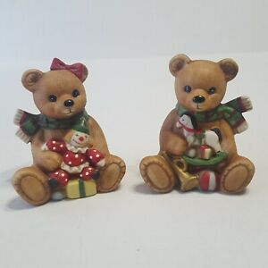 Homco Country Christmas Teddy Bear Figurines Vintage Home Interior 5251 Ebay