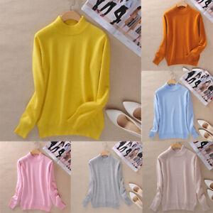 Women-039-s-Cashmere-wool-Slim-Knitted-Half-Turtleneck-Jumper-Pullover-Soft-Sweater