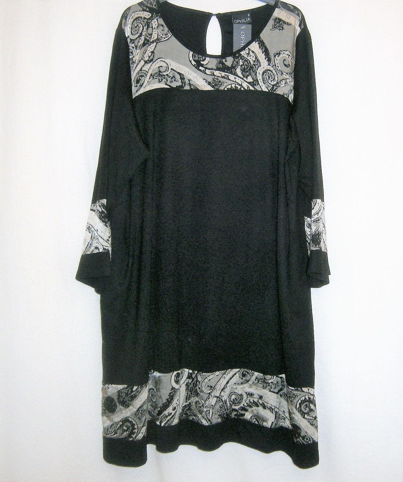 Ophilia  edles Tunika Kleid schwarz mit Ausbrenner Langarm  (48 50 52) %%%