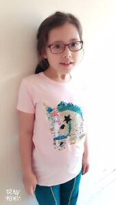 Filles Rose Licorne T-shirt Brosse Sequin Réversible 3-9 Ans Spider Girl Boy Homme-afficher Le Titre D'origine Produits De Qualité Selon La Qualité
