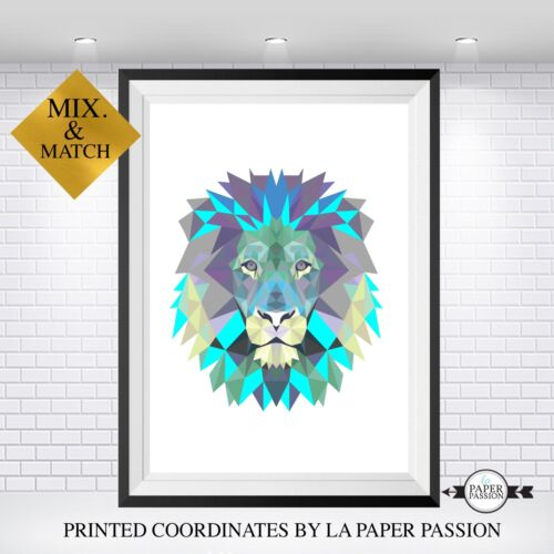 Tribal Indian A4 Size Geometric Lion Print Wall print nursery print