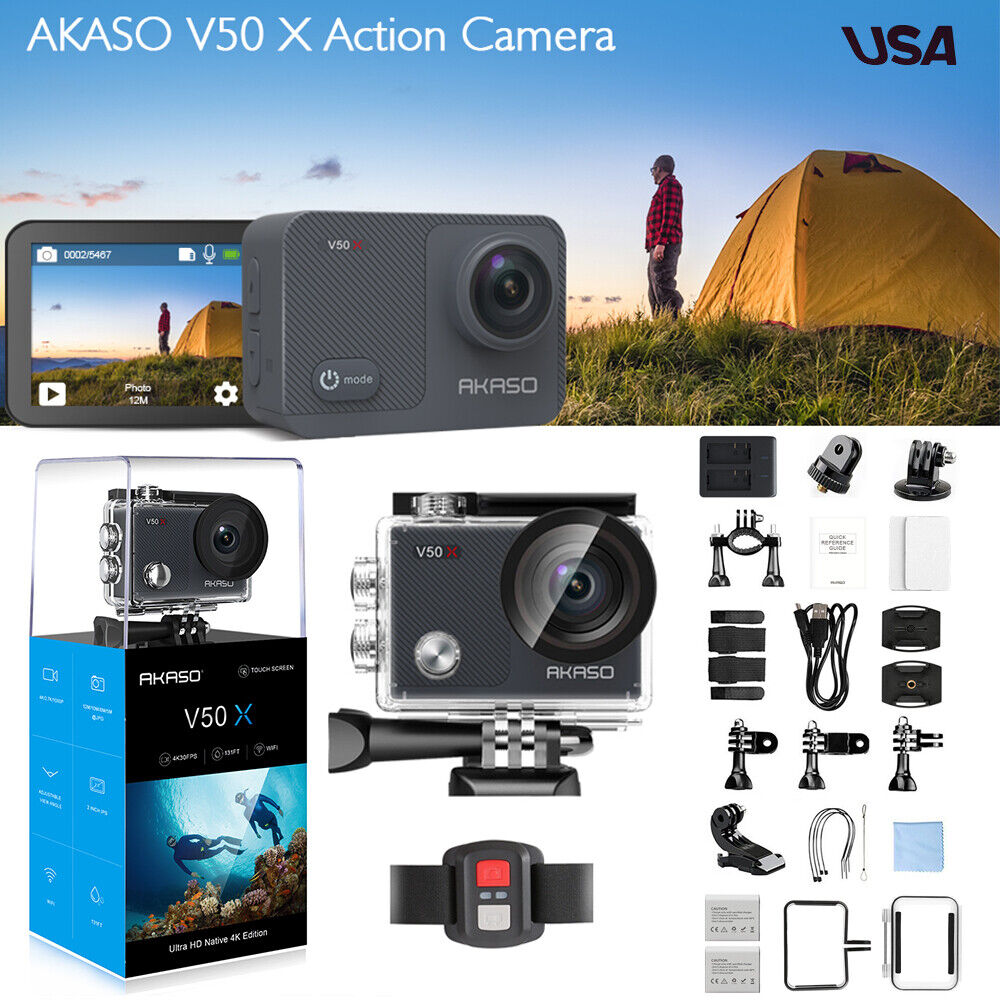 AKASO V50X Native 4K/30fps WiFi Action Camera Touch Screen Adjustable Angle EIS Featured
