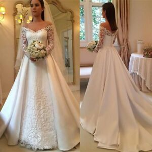 Details about A Line Wedding Dresses V Neck Bridal Gowns Plus Size 0 2 4 6  8 10 12 14 16 18 20
