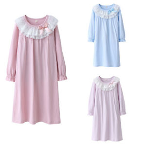 Kids-Girls-Cotton-Lace-Nightgown-Long-Sleeve-Solid-Sleepwear-Top-Dresses