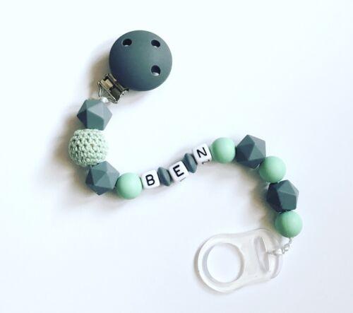Schnullerkette Schnullerband Beißkette mit Namen Wunschname grau mint mintgrün